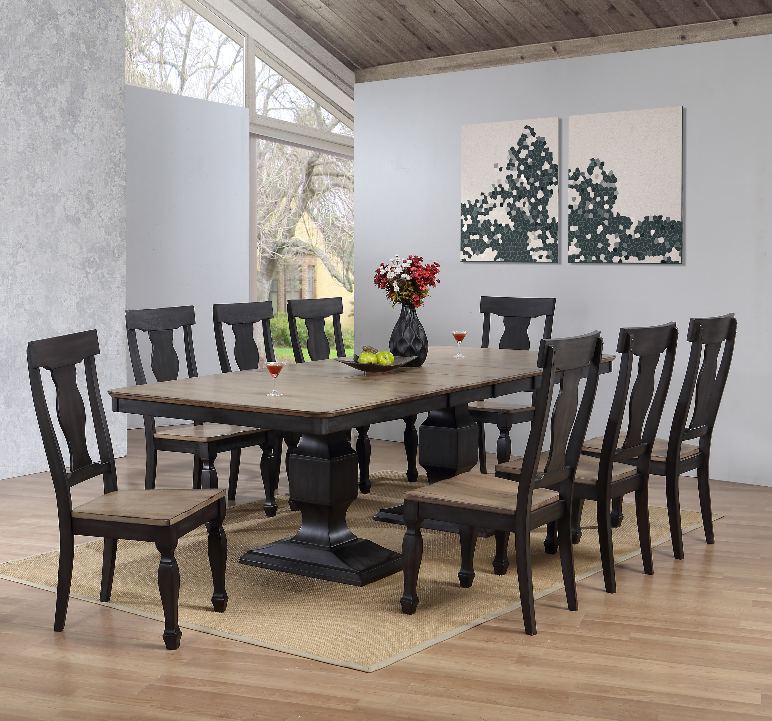 Nysha 10 Piece Charcoal & Oak Wood Transitional Rectangle Formal Dining Room Table & 8 Scooped Fiddleback Chairs With Buffet Server Set... by Pilaster Designs