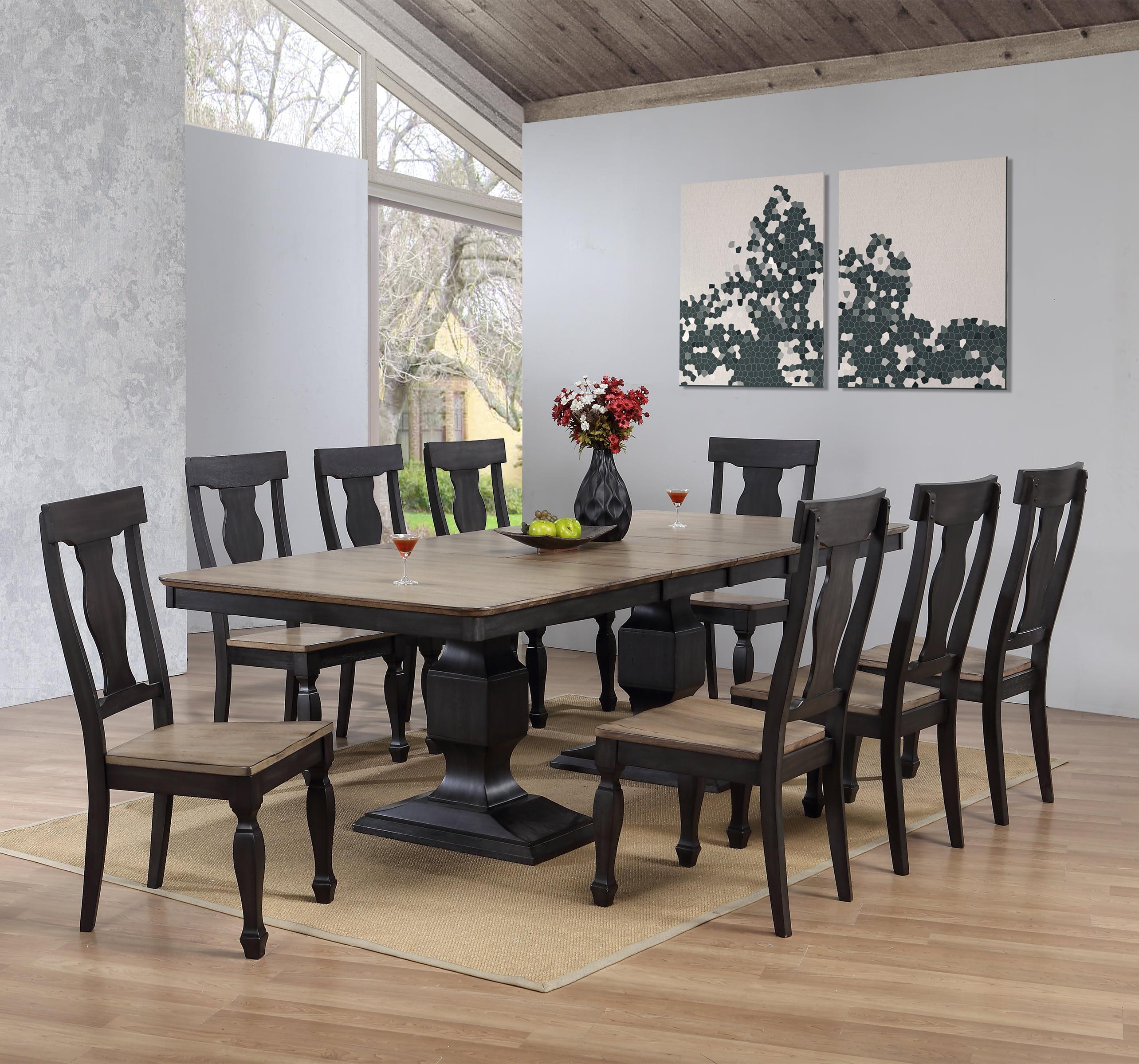 Formal Dining Room Set: Lowel 9 Piece Formal Dining Room Set, Charcoal & Oak Wood