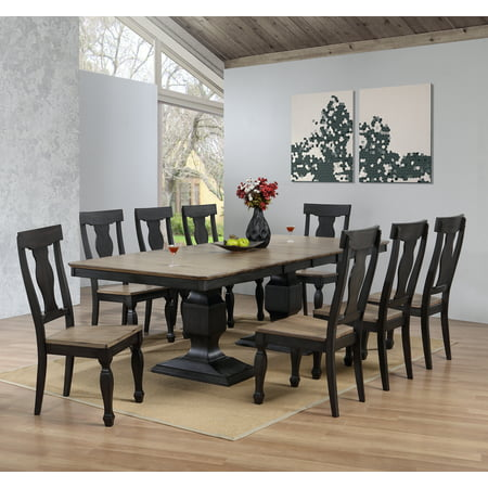9 Piece Charcoal Oak Wood Transitional Rectangle Dining Room Table 8 Side Chairs Set With 2 15 Erfly Extension Leafs