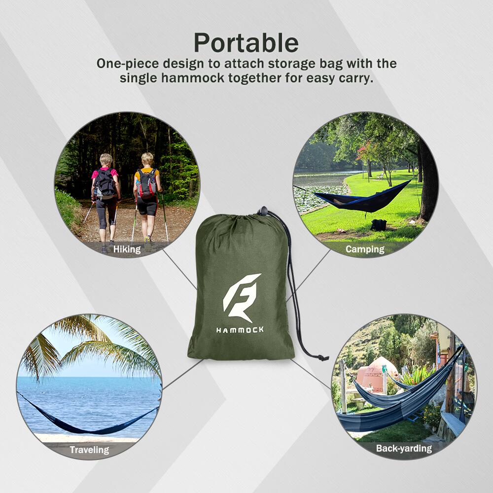 Backyard. Travel Single Camping Hammock with 10FT Tree Straps for Hiking