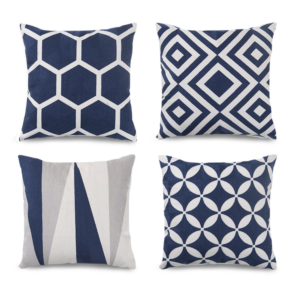 Geometric Pattern Throw Pillow Covers 18 X 18u0027u0027 Set Of 4 Farmhouse Pillows  Accent