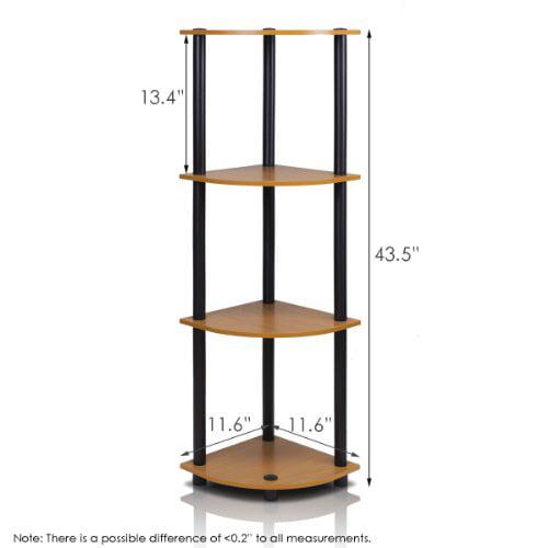 FURINNO 12078LC/BK TurnnTube 4-Tier Corner Display Rack Multipurpose Shelving Unit, Light Cherry/Black