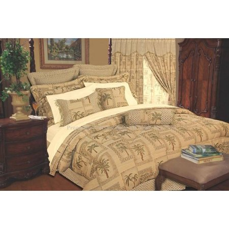 Legacy Decor 9 Pc Full Size Tapestry Jacquard Palm Tree Bedding Comforter Set