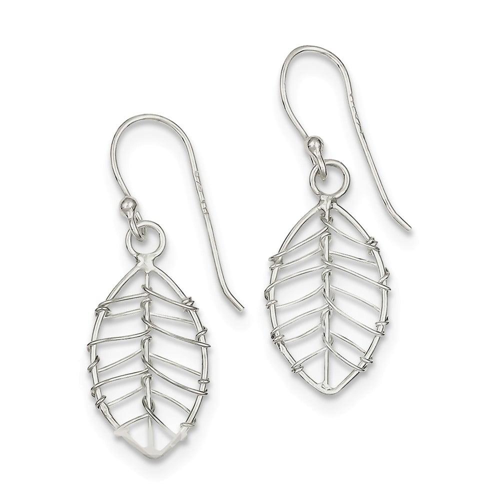 Sterling Silver Polished Leaf Dangle Earrings (1.3IN x 0.4IN )