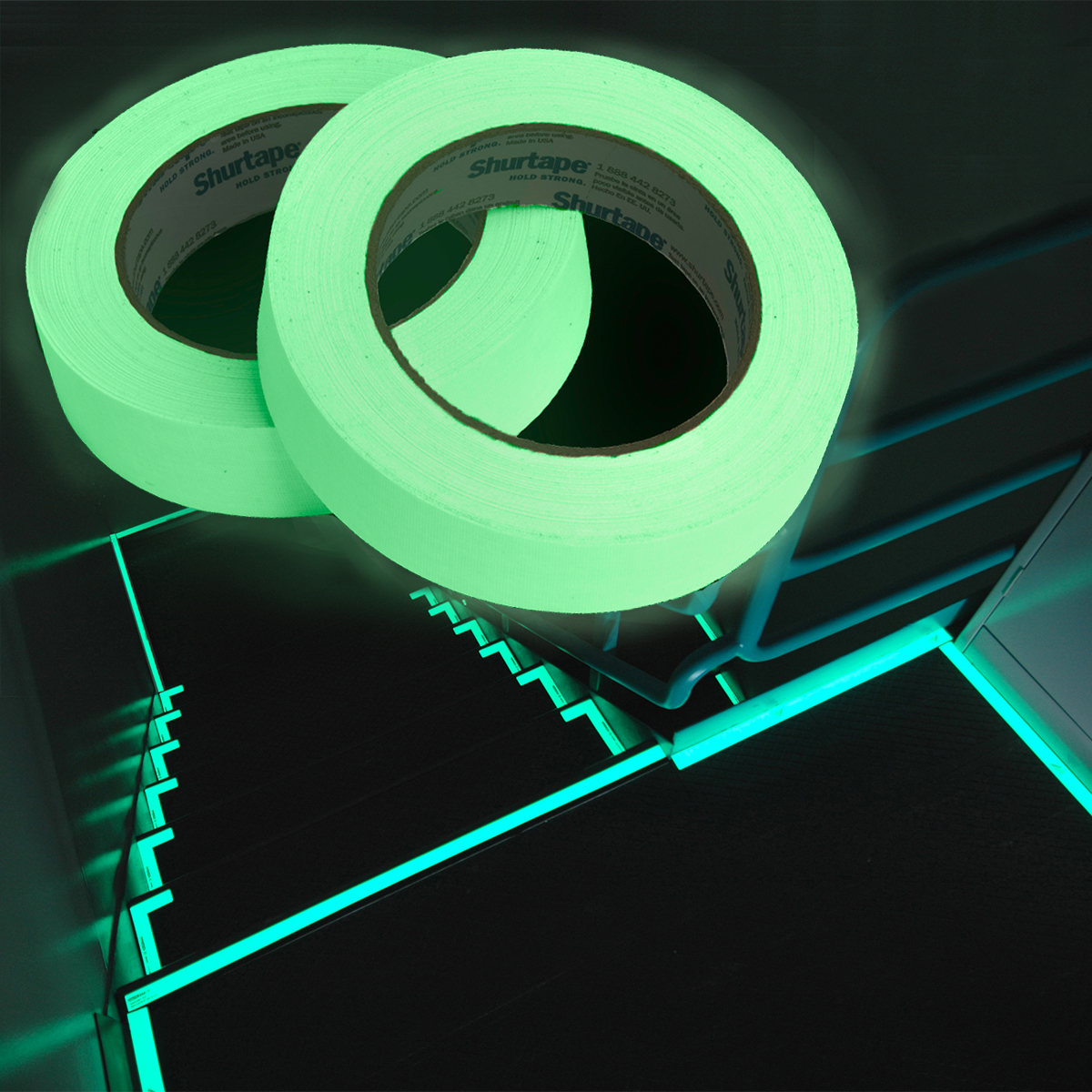 "40yds x 1""w Glow In The Dark Duct Tape Gaffers Shurtape Arts Crafts Stair Safety"