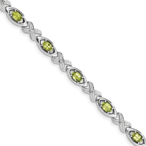 Sterling Silver Diamond & Peridot Bracelet. Carat Wt- 0.05ct. Gem Wt- 4.72ct by Jewelrypot