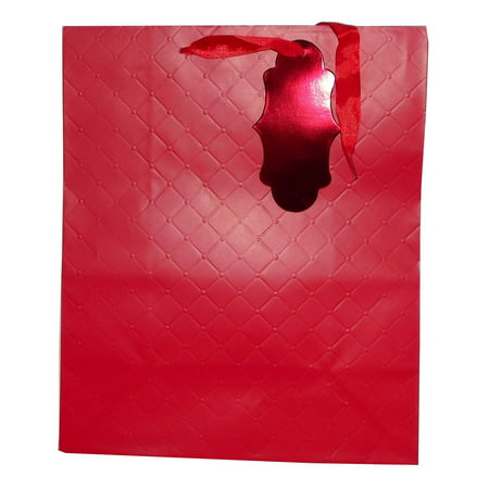 Paper Gift Bag Craft - Paper Craft Red Quilt Texture Gift Bag, 12 X 10 inches