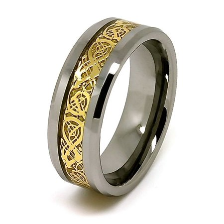 8mm Gold Plated Celtic Dragon Inlay Tungsten Ring - Whole & Half Sizes 4-17