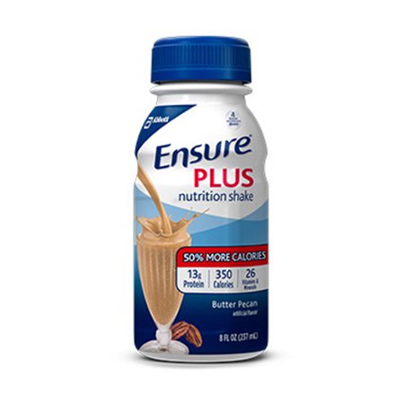 Ensure Plus Complete Balanced Nutrition Shakes  Butter Pecan  Institutional Use   8 Oz  24 Case