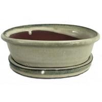 "Ceramic 6"" Bonsai Pot/Saucer - Cream Oval"