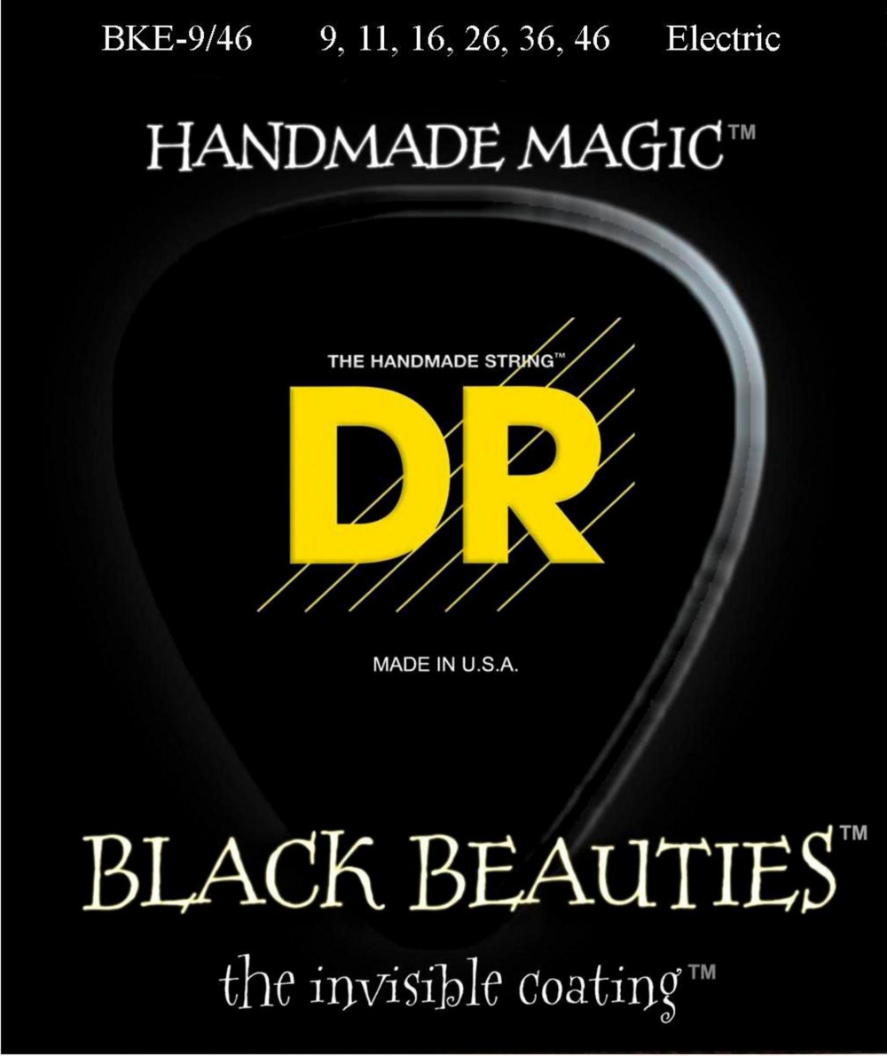 DR Strings Extra Life BKE-9 46 Black Beauties Lite-n-Heavy Coated Electric Guitar Strings by DR Strings