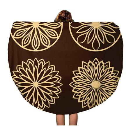 - KDAGR 60 inch Round Beach Towel Blanket DIY Laser Cutting Patterns Jigsaw Die Cut Ornaments Cutout Travel Circle Circular Towels Mat Tapestry Beach Throw