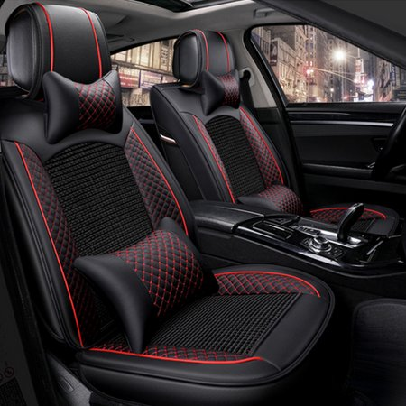 Universal 5-Seat Auto Car Covers Cushion Car Seat Cover Backrest Front Rear Head Rests Full Set Protector