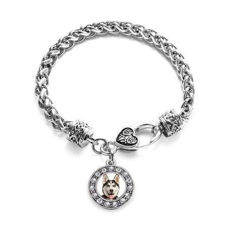 Siberian Husky Circle Charm Braided Bracelet