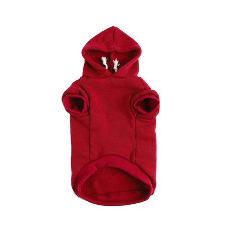 Dog Sweatshirt Hooded Pet Spring/Fall/Winter Clothes Warm Coat Red XS