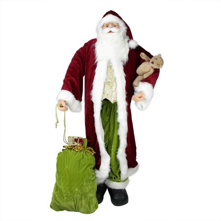 Huge 6' Life-Size Standing Decorative Plush Christmas Santa Claus Figure with Teddy Bear & Gift Bag - Bear Standing Up