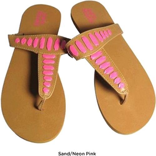 Mudd FOM277 Sandals Sand/Neon Pink Size Large (9/10)