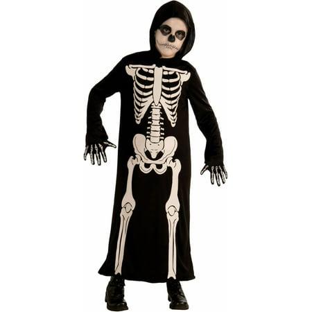 Child Boys Halloween Skeleton Grim Reaper Robe Costume