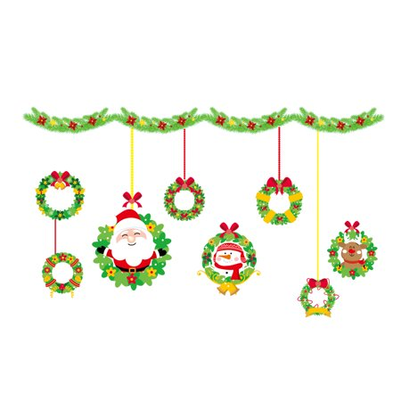 Christmas Decorations Glass Window Stickers DIY Wallpaper PVC Removable Self-adhesive Decorative Wall Stickers Shop Home Decals ()