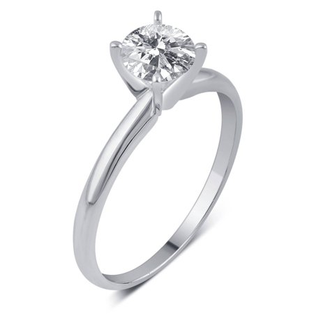 1/3 Carat T.W. IGL Certified Round Solitaire Diamond 14kt White Gold Engagement (Solitaire Engagment Ring)