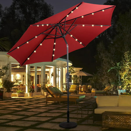Costway 10ft Patio Solar Umbrella LED Patio Market Steel Tilt w/ Crank Outdoor - 10ft Market Patio Umbrella