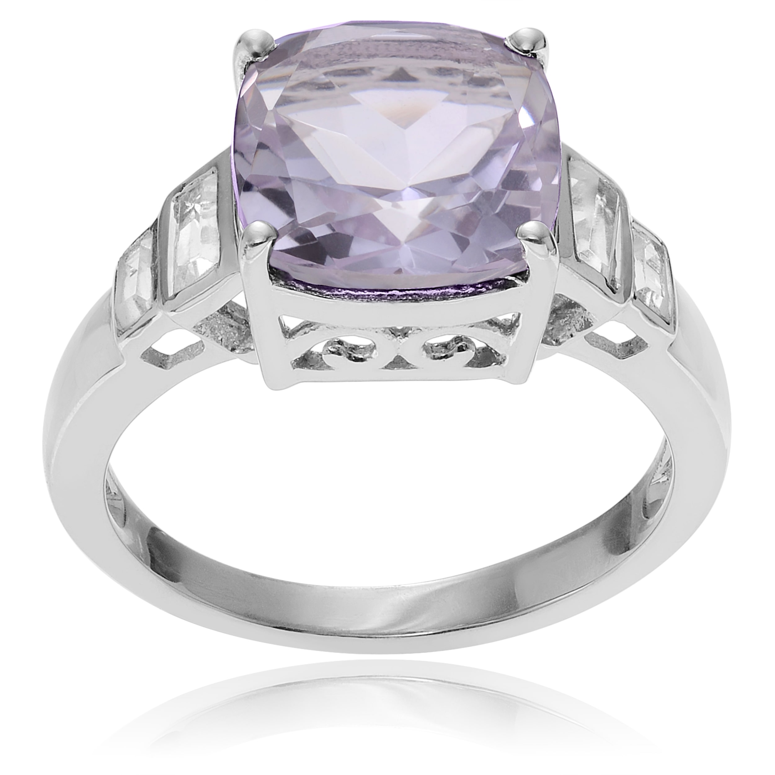 Journee Collection  Sterling Silver Topaz Pink Amethyst Ring