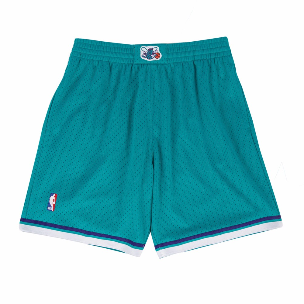 1992-93 Charlotte Hornets Mitchell & Ness Road Teal Throwback Swingman Shorts
