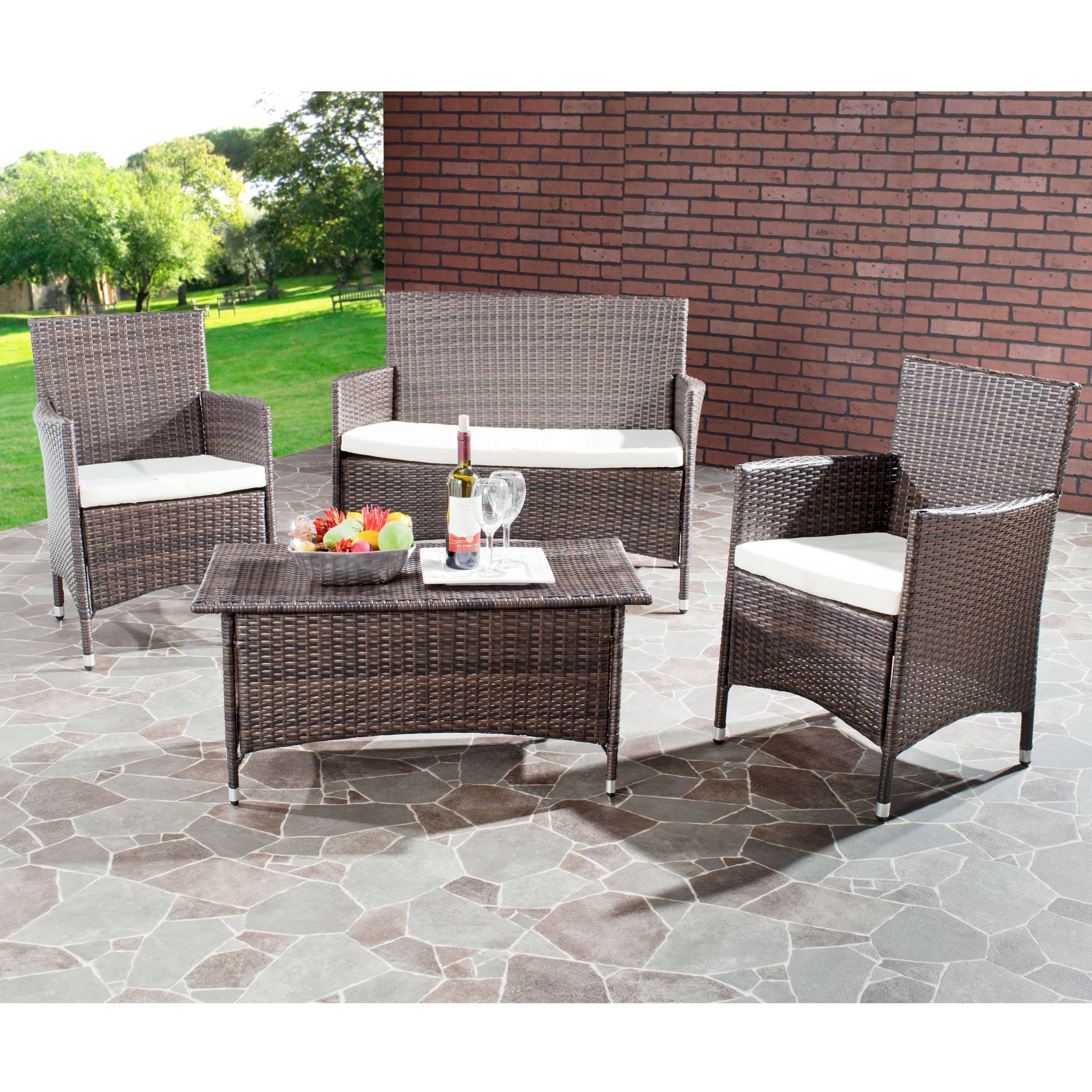 Safavieh Mojavi 4 Piece Wicker Outdoor Set Walmart