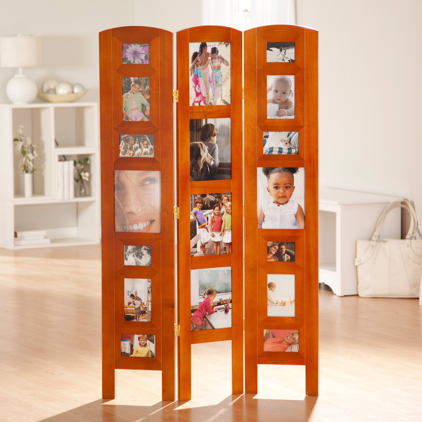 Memories Photo Frame Room Divider - Honey 3 Panel