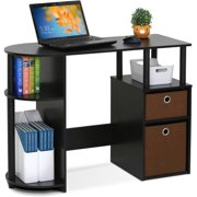 Furinno Jaya Simplistic Computer Study Desk With Bin Drawers Espresso Image 3 Of 5