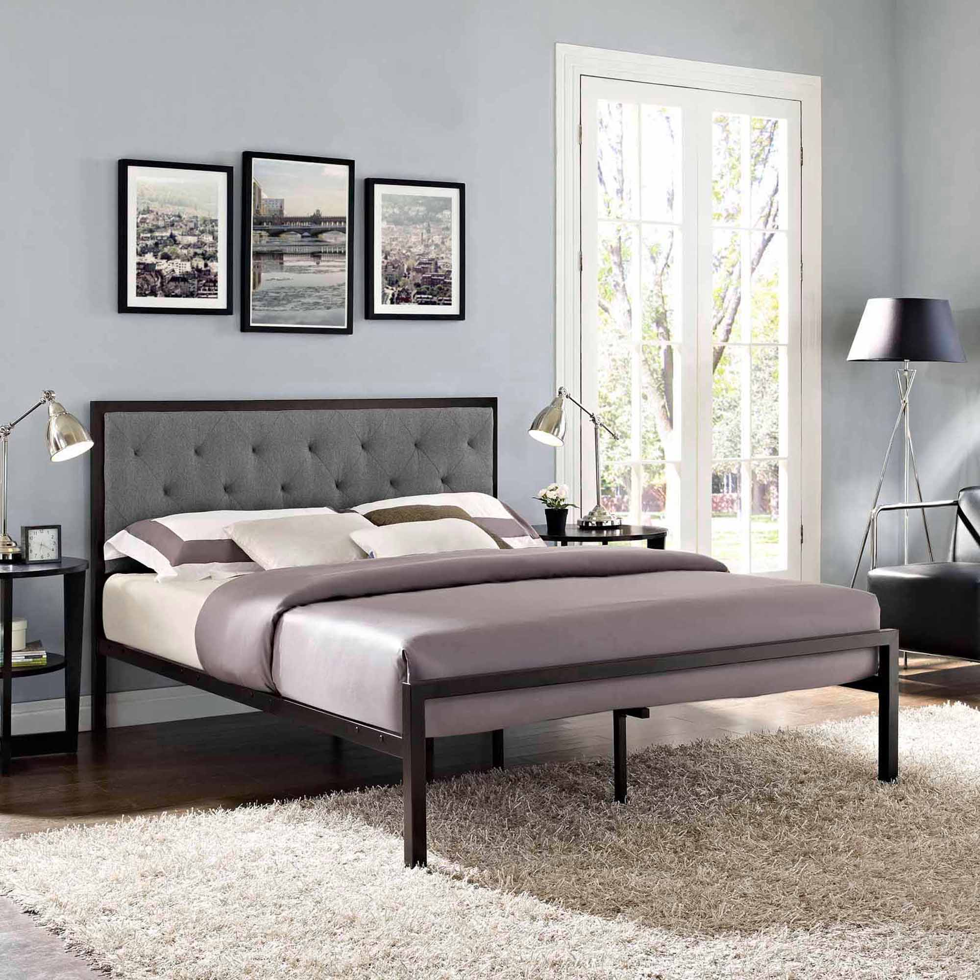 Modway Mia Queen Upholstered Platform Bed, Multiple Colors