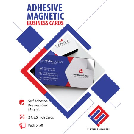 Self-Adhesive Business Card Magnets, Flexible Peel & Stick, 2'' x 3.5'' inches. (50) Great Promotional Product, Ideal for putting up on refrigerator or metal surface, Value Pack Quantities
