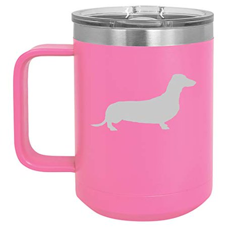 15 oz Tumbler Coffee Mug Travel Cup With Handle & Lid Vacuum Insulated Stainless Steel Dachshund (Hot Pink)