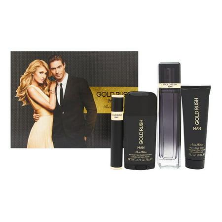 Paris Hilton Gold Rush Man 4 Piece Set Includes: 3.4 oz Eau de Toilette Spray + 3.0 oz Body Wash + 2.75 oz Alcohol-Free Deodorant Stick + 0.34 oz Eau (Paris Hair Deodorant)