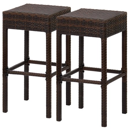 Best Choice Products Set of 2 Wicker Outdoor Backless Bar Stools - Dual Tone Brown