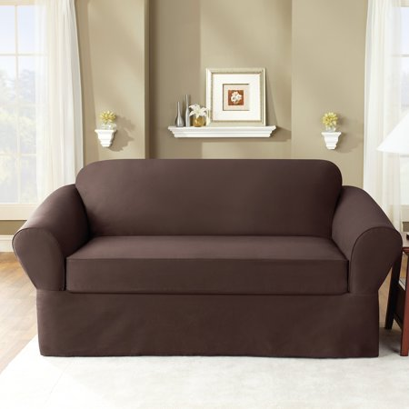 Sure Fit Twill Supreme Two Piece Loveseat Slipcover Coffee
