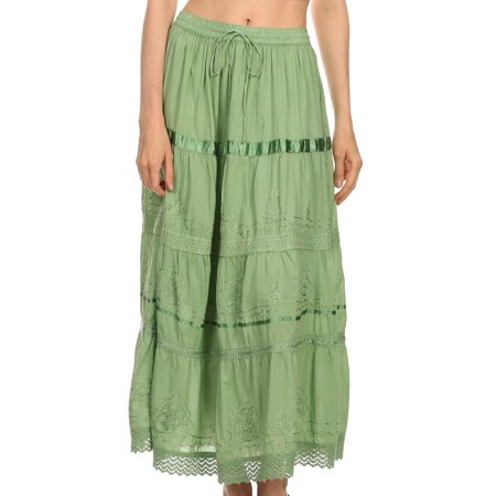 Sakkas Solid Embroidered Gypsy / Bohemian Full / Maxi / Long Cotton Skirt - Spring Green - One Size Full Long Skirt