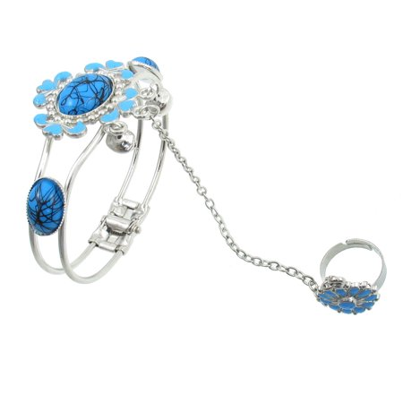 Bangle Silver Ring - Unique Bargains Unique Bargains Ladies Light Blue Beads Metal Chain Ring Bell Bangle Silver Tone