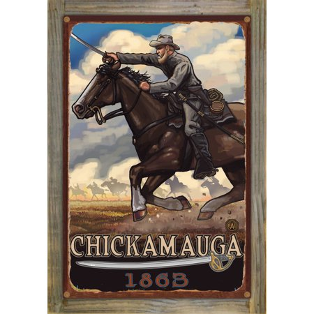 Chickamauga Geogia Civil War Horse Charge Rustic Metal Print on Reclaimed Barn Wood by Paul A. Lanquist (12