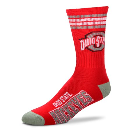 Ohio State Buckeyes Striped Acrylic - For Bare Feet Ohio State Buckeyes 4 Stripe Deuce Socks (Red)