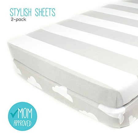 Stripes Toile Crib (Pack N Play Playard Sheet Set - 2 Pack - Fitted, Soft Jersey Cotton Portable Crib Sheet - Baby Bedding in Grey Stripes & Clouds by)