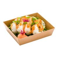 "Matsuri Vision Kraft Paper Large Tetra Sushi Container - 5"" x 4 1/2"" x 1 1/2"" - 100 count box"