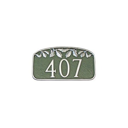 Montague Metal PCS-12 Nature Series Oak Leaf One Line Address Plaque Black by Brand New