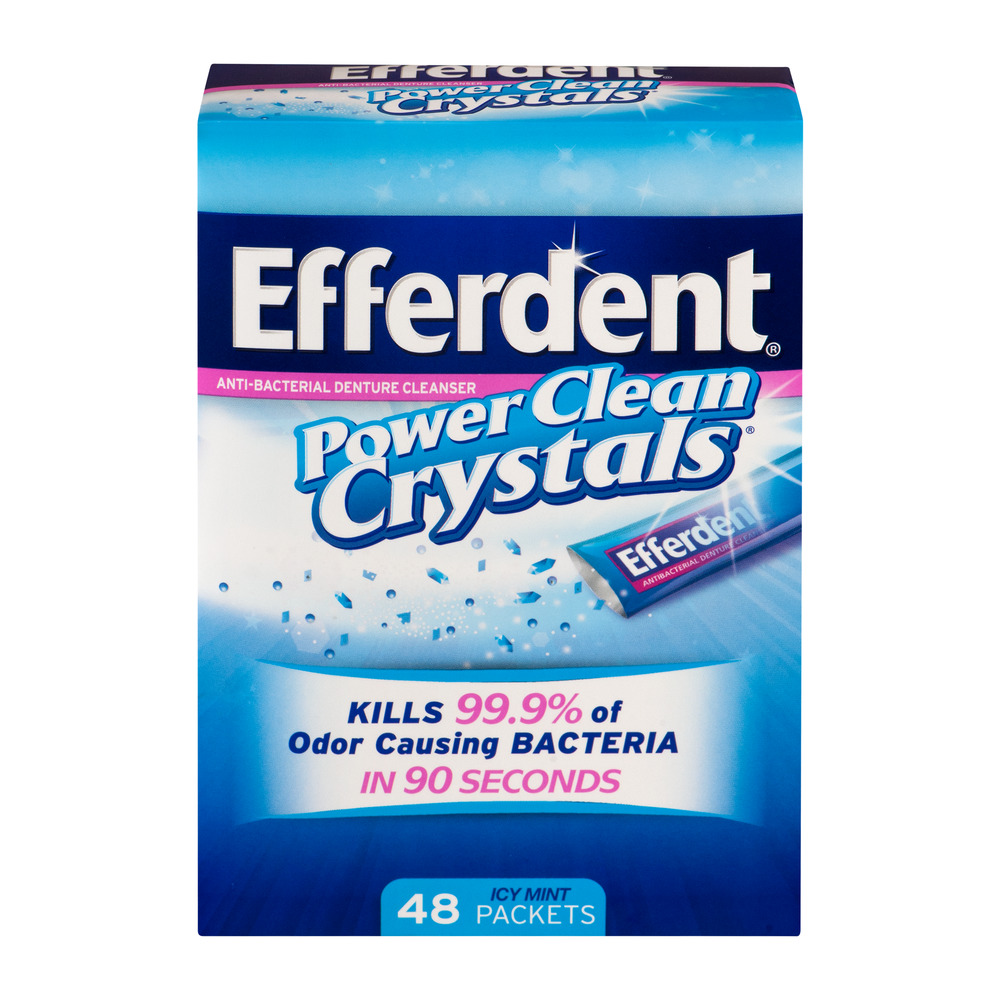 Efferdent Power Clean Crystals Anti-Bacterial Denture Cleanser Icy Mint Packets, 48 count
