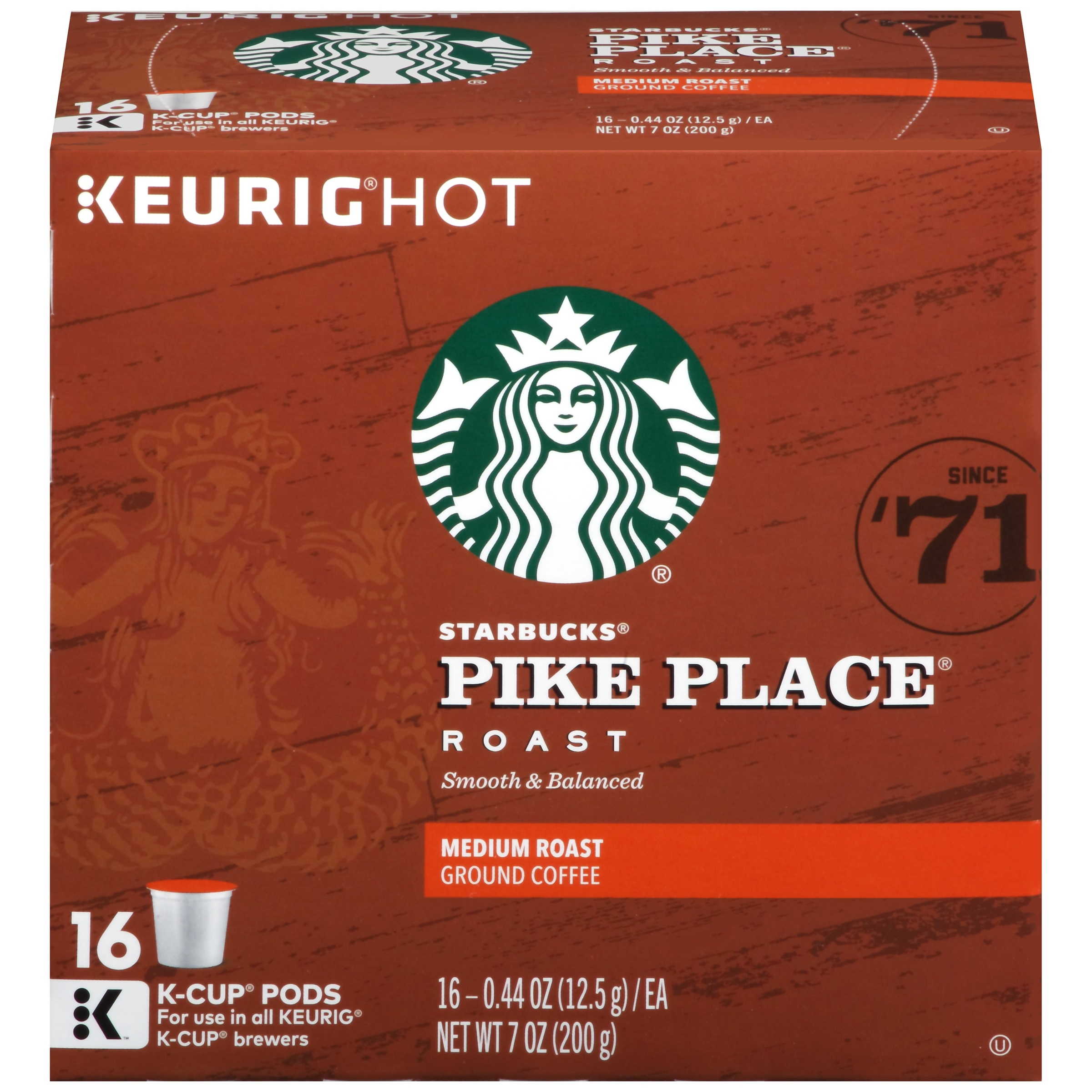 Pikes Peak Coffee >> Starbucks Pike Place Medium Roast Coffee 16 Ct K Cups Walmart Com