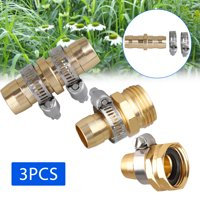 3 Sets Universal 5/8 3/4Inch Brass Garden Hose Repair Kit Mender End Water Hose End Mender Female and Male Hose Connector with 4 Pieces Stainless Steel Clamp