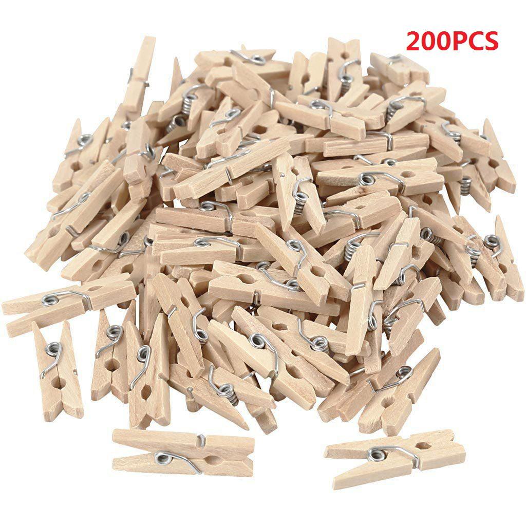 200Pcs 25mm Mini Wooden Photo Paper Peg Clothespin Clothes Pin Clip