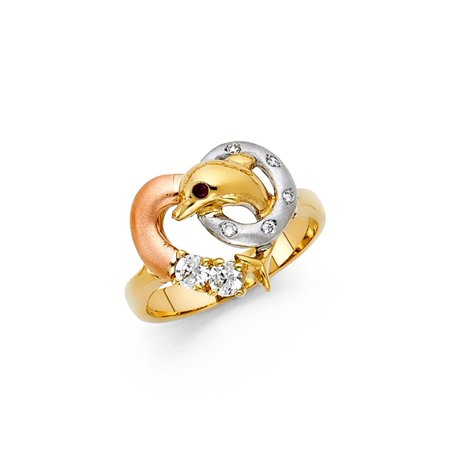 Tri-color 14K Solid Yellow Gold White Round Cut Cubic Zirconia Dolphin Ring, Size -