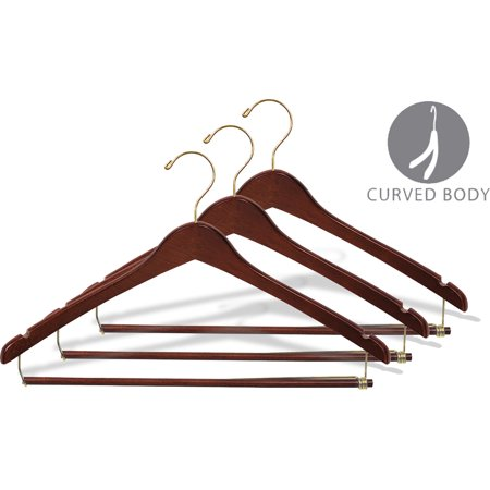 Hanger Walnut Lacquered (Curved Wood Suit Hanger w/ Locking Bar & Walnut Finish, (Box of 25) 17 Inch Hangers w/ Brass Swivel Hook & Notches for Shirt Dress or Pants by International Hanger )