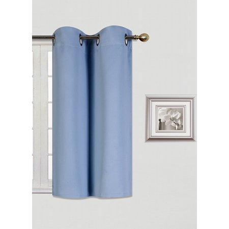 (K30) SLATE  BLUE 1 Panel Silver Grommets KITCHEN TIER Window Curtain 3 Layered Thermal Heavy Thick Insulated Blackout Drape Treatment Size 30